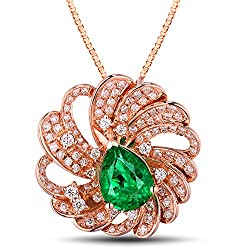 Rose Gold Pear Shape With Emerald Diamond Pendant