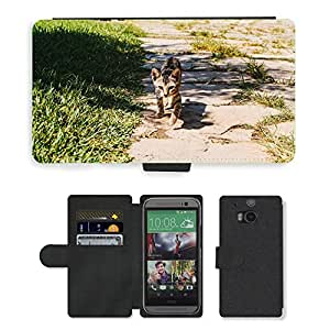 Super Stella Cell Phone Card Slot PU Leather Wallet Case // M00149521 Cat Animal Nature // HTC One M8