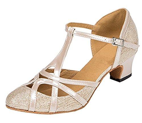 Tda Donna Tacco Medio In Pelle Pu Salsa Tango Da Ballo Latino Scarpe Da Ballo Partito Cm101 Champagne 5cm