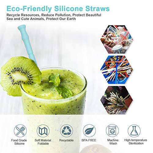 3a4f9e356fe Reusable Straws Silicone Straw Drinking Smoothie Straw for Bubba Yeti  Tumbler Cup, BPA Free Long