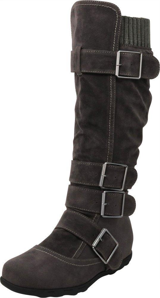 Cambridge Select Women's Buckle Sweater Knee High Flat Boot (5.5 B(M) US, Charcoal Grey)