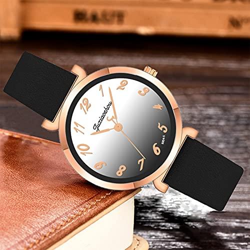 Gradient Color Digital Dial Women's Watch - 8 Colors Student Belt Waterproof Watch - Stainless Steel Ladies Watch (Black)