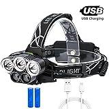 GuDoQi Linterna Frontal LED USB Recargable 6 Modos Luz de Bicicleta IPX 6 Impermeable Foco Luces Faros LED para Campismo, Senderismo, Ciclismo, Reparación de Automóviles, Pesca Correr y Aire Libre