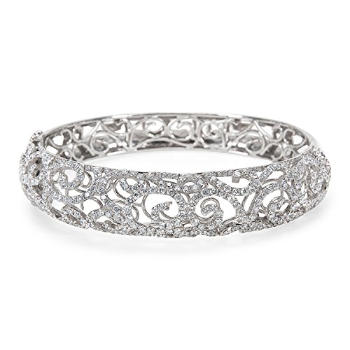 BRAND NEW Diamond Motif Bangle in 18k White Gold (10.00 CTW) by Loved Luxuries