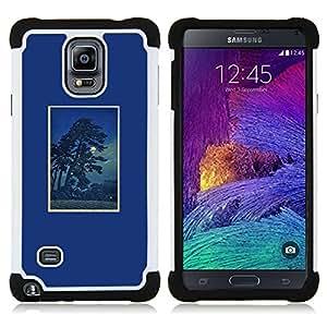 """Samsung Galaxy Note 4 IV / SM-N910 - 3 en 1 impreso colorido de Altas Prestaciones PC Funda chaqueta Negro cubierta gel silicona suave (Árbol de la noche Impresiones Marco Naturaleza"""")"""