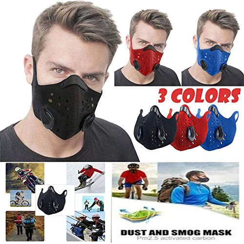 Flyalone⭐ Dust Mask - Anti Air Pollution Smoke Mask - Washable Reusable Face Mask, Adjustable PM2.5 Air Filter Mask, Breathing Valve Mask Mouth Cover Mask Dustproof Safety Mask Respirator (Blue)