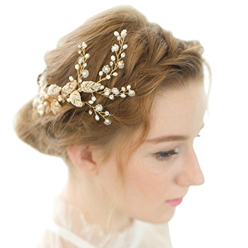 Vintage Bridal Headpieces - FAYBOX Vintage Gold Twig Crystal Pearl Side Combs Bridal Headpiece Wedding Accessories A