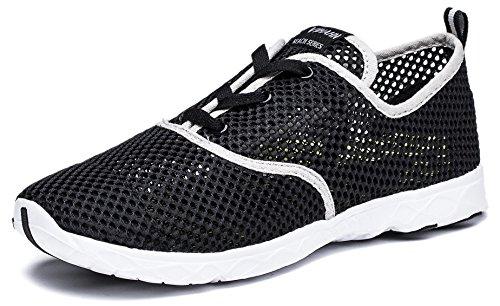 Viihahn Hombres Los Zapatos Del Agua De Malla Transpirable Con Cordones De Secado Rápido Del Negro