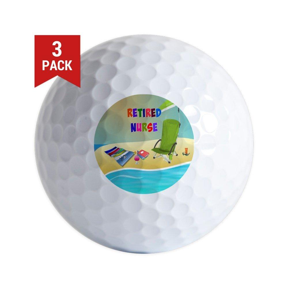 CafePress - Retired Nurse, Fun In The Sun - Golf Balls (3-Pack), Unique Printed Golf Balls