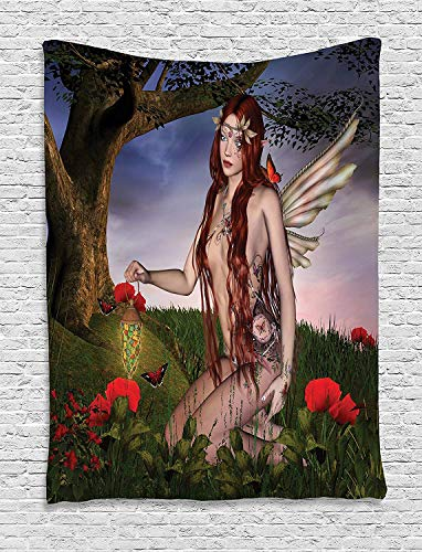 CHARMHOME Fantasy Tapestry, Redhead Fairy with Wings Holding a Butterfly Catcher Lantern Surrounded by Poppies Wall Hanging Tapestry for Bedroom Living Room Dorm Decor, 60x90 Inches