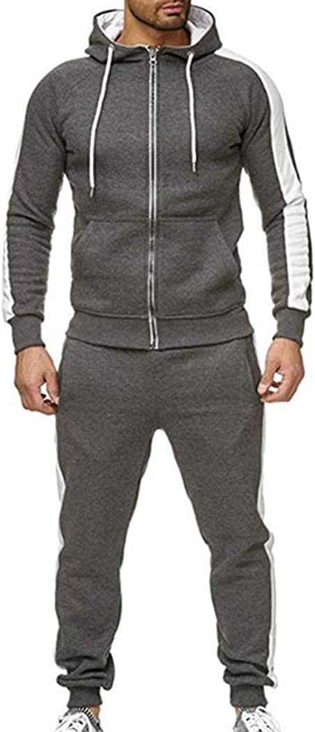 watersouprty Mens Hooded Casual 2 Pieces Sets Tracksuits Sports Jogging Warm Cardigan Sweat Suits