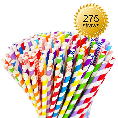 PAPER STRAWS BIODEGRADABLE (Bonus 275 Count - 11 Rainbow Party Colors) Eco Friendly Straws Bulk Compostable Paper Straws for Drinks, Juices, Shakes, Smoothies, Restaurants, Bars & Wedding Parties ()