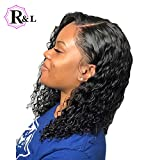13x6 Short Curly Brazilian Lace Front Human Hair Wigs With Baby Hair Lace Front Wig Remy Hair Wig Pre Plucked Bleached Knots 150% Density (14inch)