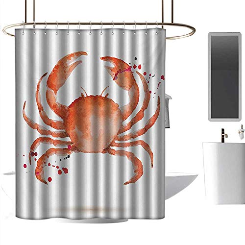 Shower Curtains Tumblr Crabs,Sea Animals Theme in Watercolor Style Effect a Big Crab on White Background Print,Vermilion,W36 x L72,Shower Curtain for Men ()