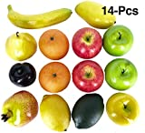 Dasksha Lifesize Realistic Fruit Set – 14 pieces Decorative Fruits and Vegetables– Fake Fruits decoration – Artificial Foam Décor including plastic apples, fake oranges, plastic bananas, faux limes