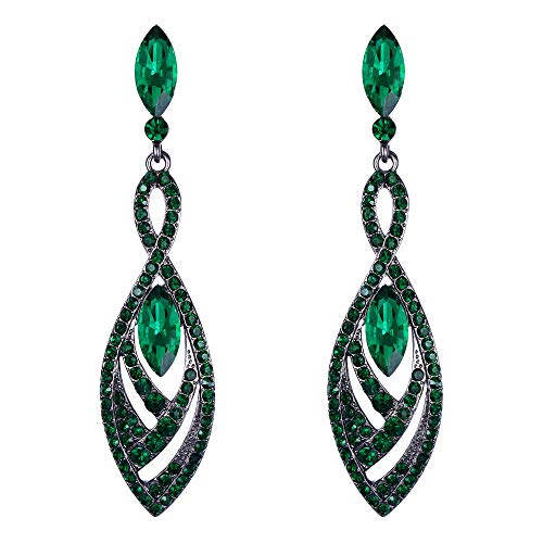 BriLove Fashion Dangle Earrings for Women Crystal Gorgeous Twisted Dual Teardrop Chandelier Earrings Emerald Color Black-Tone
