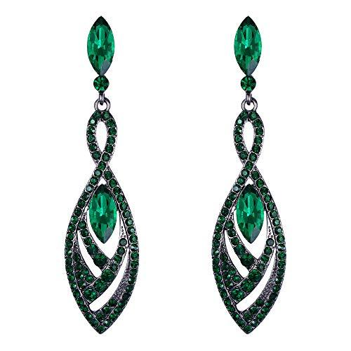 (BriLove Fashion Dangle Earrings for Women Crystal Gorgeous Twisted Dual Teardrop Chandelier Earrings Emerald Color Black-Tone)