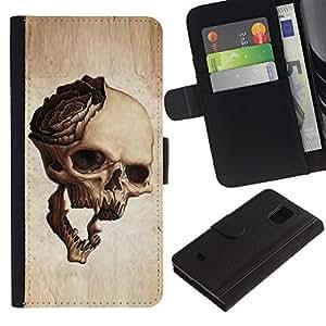 KingStore / Leather Etui en cuir / Samsung Galaxy S5 Mini, SM-G800 / Cráneo Rose Art Muerte huesos de Halloween