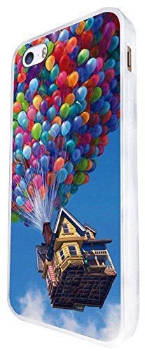 038 - Cool Funky Up Flying House With Balloon Design iphone SE - 2016 Coque Fashion Trend Case Coque Protection Cover plastique et métal - Blanc