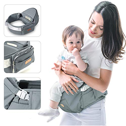 SUNVENO Hip Seat Soft Baby Carrier Ergonomic Waist Front Carrier with Adjustable Strap and Pockets for Newborns, Toddlers & Children, 6-38 lbs (Grey)