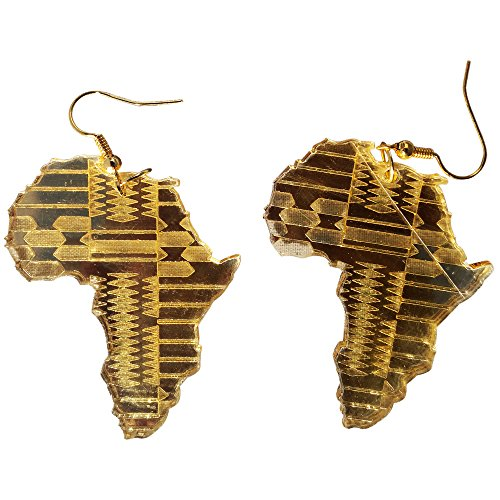 Africa Map Earrings Gold Mirror Style Earring Choose From Small or Large Earring - 2 Different Designs (Small Africa Earring) by Liverpool Private Reserve