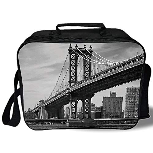 New York 3D Print Insulated Lunch Bag,Bridge of NYC Vintage East Hudson River Image USA Travel Top Place City Photo Art Print,for Work/School/Picnic,Grey
