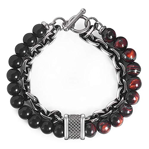 Mens Stainless Steel Tigers - Hermah Natural Stone Beads Gunmetal Stainless Steel Rolo Link Chain Bracelet for Men Women Boys Red Tiger Eyes Stone Bead Bracelets 8inch