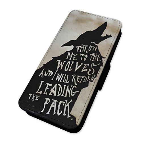 WOLF leader of the Pack citazione–Flip cover in pelle copertura di carta Apple Iphone 7