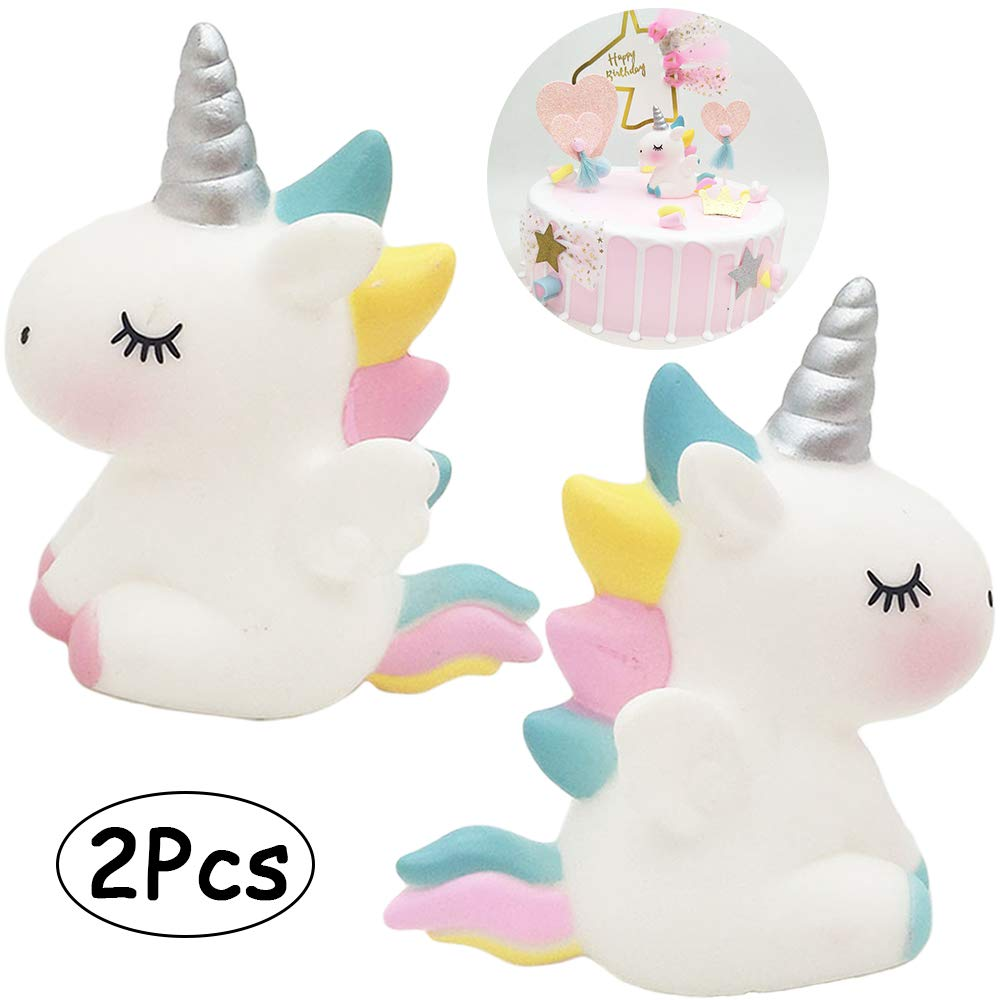 Unicorn Cake Topper Pink/&Blue 2pcs Unicorn Decoration Toy Figure Party Decoration for Baby Girl Handmade Party Supplies for Baby Shower Birthday Party