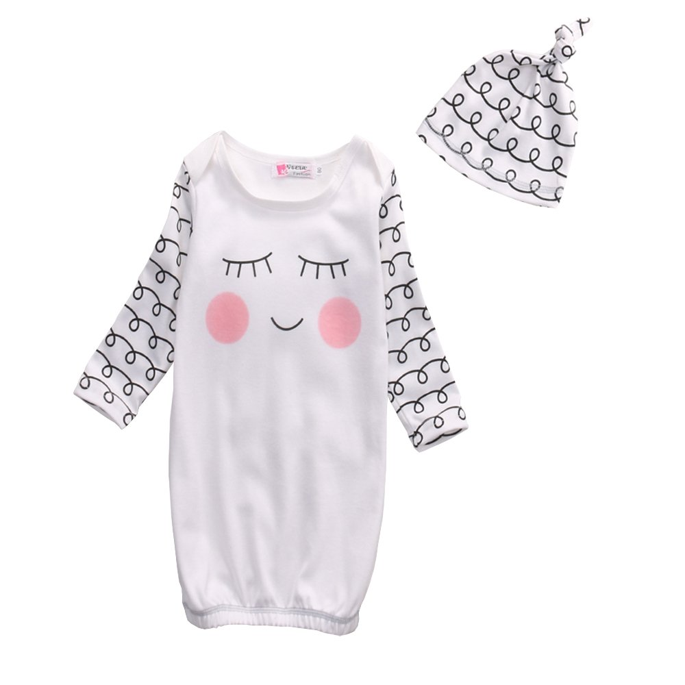 Newborn Girls Cute Nightgown Smile Sleeping Gown Swaddle Sack Coming Home Outfit+Hat 0-3 Months)