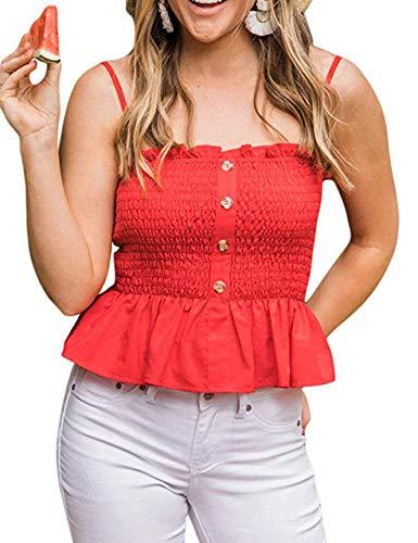 KAMISSY Women's Frill Smocked Crop Tank Top Tie Shoulder Strap Vest (Large, -