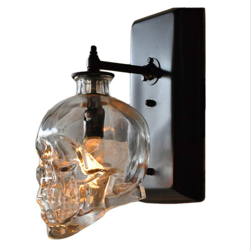 LOFT Retro Industrial Water Pipe Faucet Wine Bottle Wall Lamp American Style Halloween/Christmas Festival Creative Skull Bar Restaurant Cages Decoration Wall Light (Design : C)
