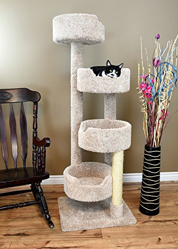Cat Condo Wood (New Cat Condos 190209 Large Cat Tower with 4 Easy to Access Spacious Perches, Beige)