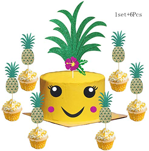 1 Set Glitter Pineapple Cake Topper and 6Pcs Pineapple Cupcake Topper Tropical Hawaiian Aloha Luau Themed Party Cake Party Supplies Baby Shower