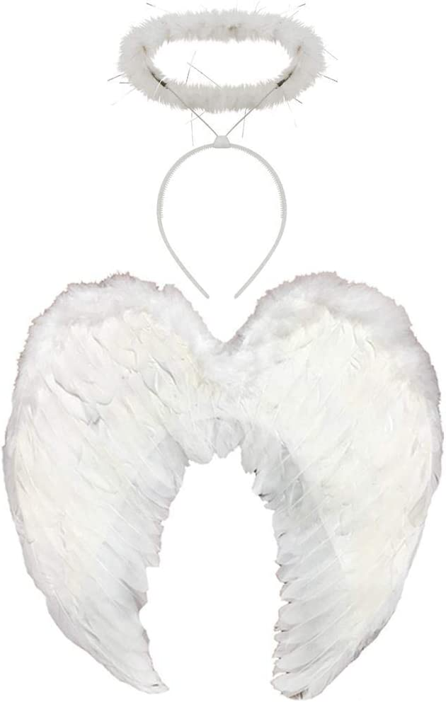 Kids Feather Wings Angel Fairy Halo Fancy Dress Costume Outfit Stage Party WHITE