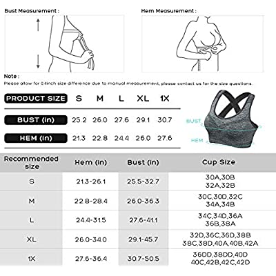 FITTIN Crossback Sports Bras - Padded Seamless Med Support for Yoga Gym Workout Fitness at Women's Clothing store
