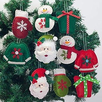 Cascaba Christmas Ornaments Set of 10 Household Santa Claus Snowman Pendant Tree Hanging Decoration Home Decor
