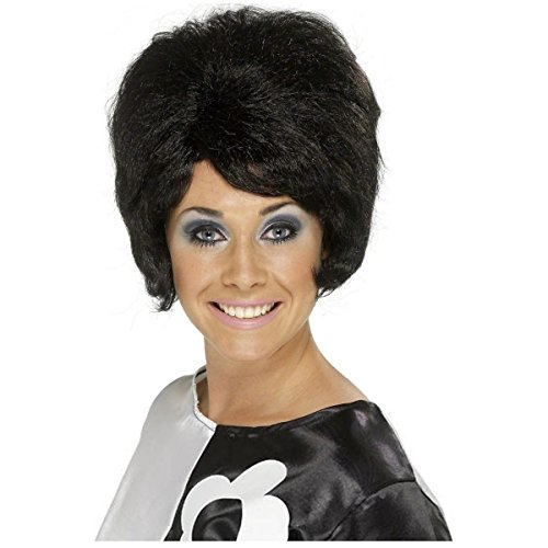 [60's Beehive Bouffant Women's Black Wig Costume Accessory] (Black Beehive Wig)