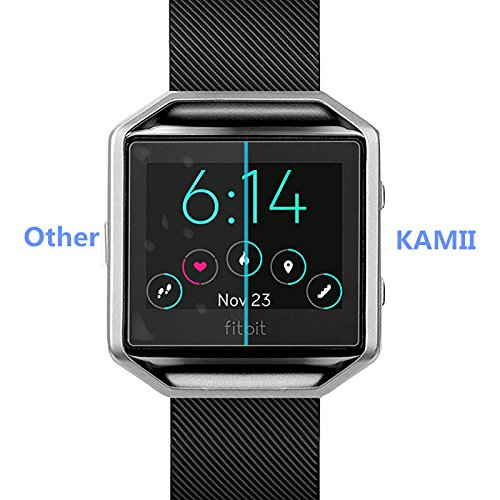 (3 PACK) KAMII Screen Protector Compatible with Fitbit Blaze, [Tempered Glass] [Anti-Scratch] [Bubble Free] Shatterproof Ultra Thin HD Clear 9H Hardness Anti-Scratch Easy Installation Screen Protector by KAMII (Image #5)