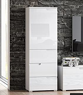 Cellini White Gloss Slim Tallboy Storage Unit   S11  By RONZ
