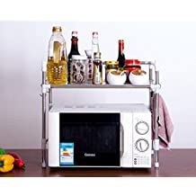 "YONTREE Stainless steel Multi-functional Microwave Oven Kitchen Storage Rack Shelf Spice Rack Space Saving Kitchen Shelf 1 Tier 20.86"""