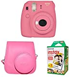 Fujifilm Instax Mini 9 Instant Camera with Instax Groovy Camera Case (Flamingo Pink) & Instax Mini Instant Film Twin Pack