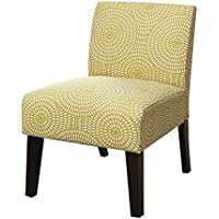 Major-Q Linen Slipper Accent Chair for Living Room/Bedroom, Solid Pattern, Tight Back and Seat Cushion, Yellow Pattern Finish with Wooden Tapered Leg 27 x 34 x 24