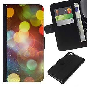 JackGot ( Bokeh Lights ) HTC Desire 820 la tarjeta de Crédito Slots PU Funda de cuero Monedero caso cubierta de piel