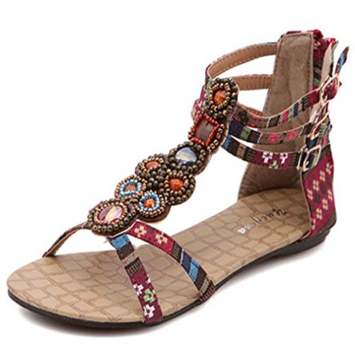 Solshine Women's Boho Sandals Ankle Strap Flat Bejeweled Back Zip Classic Wine Red 3FZG17RFkw