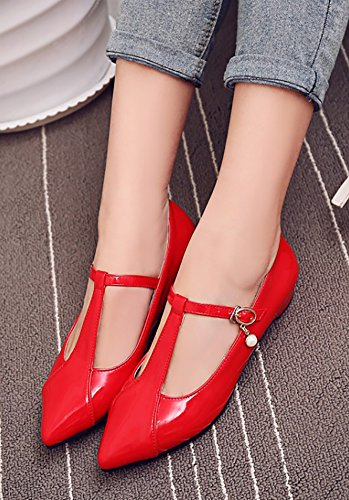 Aisun Womens Fashion Burnished Dressy Pointed Toe Buckled Chunky Low Heel T Ankle Strap Pumps Shoes Red s4EAl9Tj