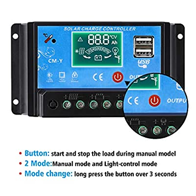 MOHOO 20A Charge Controller Solar Charge Regulator Intelligent with Dual USB Port PWM Back-light LCD Display
