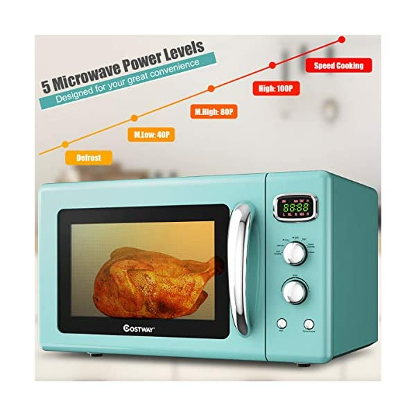 COSTWAY Retro Countertop Microwave Oven, 0.9Cu.ft, 900W Microwave Oven, with 5 Micro Power, Defrost & Auto Cooking… 3