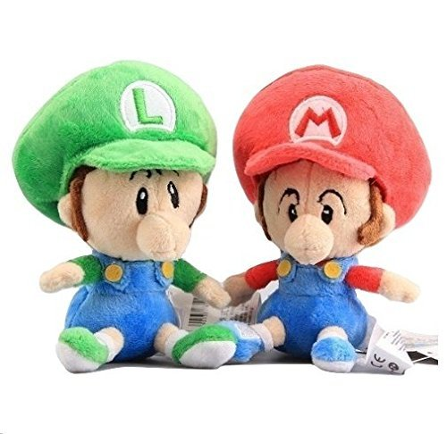 Super Mario Bros Plush 5.6 Inch / 14cm Baby Mario Luigi 2pcs Doll Stuffed Animals Figure Soft Anime Collection (Mario And Luigi Baby)