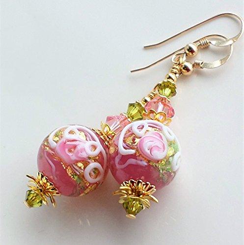Murano Style Ring - Pink Wedding Cake Style Murano Glass Swarovski Crystal Statement Earrings